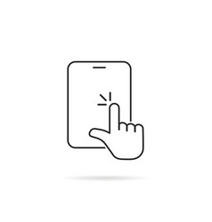 hand touches on linear tablet screen vector image
