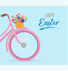 happy easter card with flowers in basket vector image