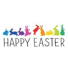 happy easter header with bunnies silhouettes vector image