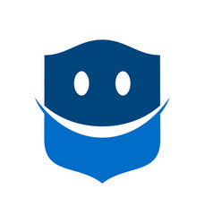 happy smiley protection blue modern shield symbol vector image