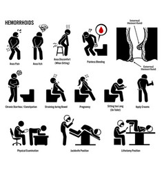 Hemorrhoids and piles icons pictogram and vector