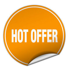 Hot offer round orange sticker isolated on white vector