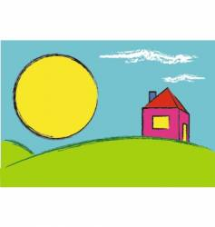 House and rising sun vector