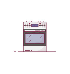 Kitchen stove line style vector