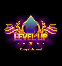 Level up icon game screen vector