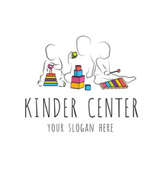 Logo for child care centerand kindergarten child vector