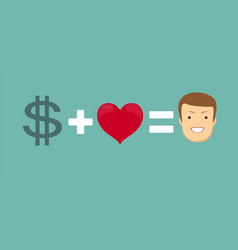 Love and money makes you happy vector