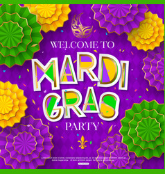 mardi gras party poster shrove tuesday vector image
