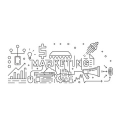 marketing concept line art design vector image