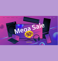 Mega sale advertiving banner with 3d vector