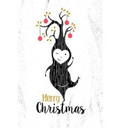 Merry christmas black white elf tree xmas retro vector image