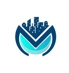 metro city modern logo designs simple vector image