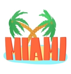 Miami palm logo cartoon style vector
