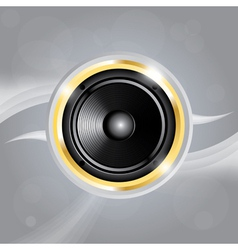 Music speaker of gold color on grey background vector image