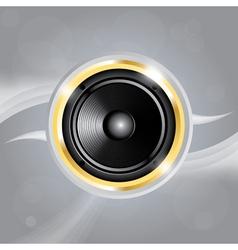 Music speaker of gold color on grey background vector image