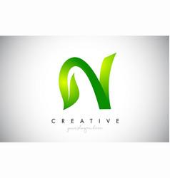 N leaf letter logo icon design in green colors vector