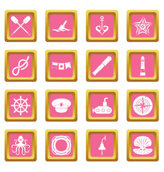 nautical icons pink vector image