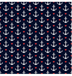 nautical seamless pattern with anchors and hearts vector image