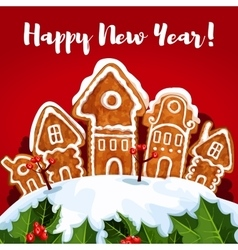 New Year gingerbread town poster vector image