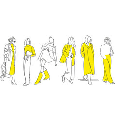 one line woman fashion creative freehand vector image