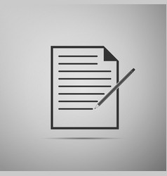 Paper and pencil icon isolated on grey background vector
