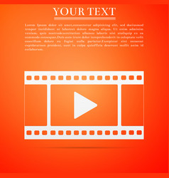 play video icon isolated on orange background vector image