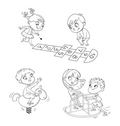 Playground kids zone coloring book vector
