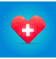 Polygonal heart and cross vector