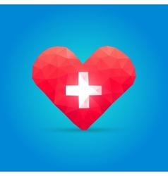 Polygonal heart and cross vector