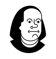 portrait benjamin franklin isolated on 100 vector image