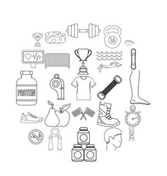 Professional sportsman icons set outline style vector