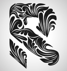 R calligraphic element vector image