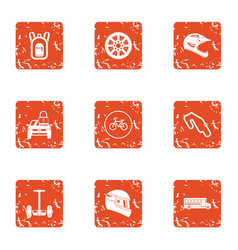 reaction of the rider icons set grunge style vector image