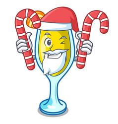 Santa with candy mimosa mascot cartoon style vector