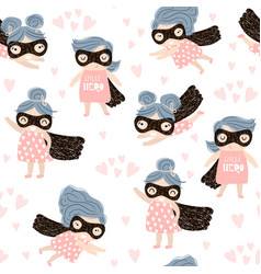 Seamless childish pattern with cute little girl vector