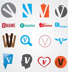 Set of alphabet symbols of letter V vector image
