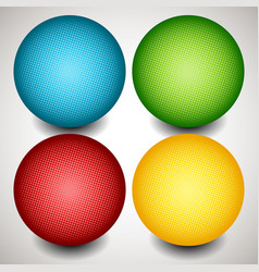 set of colorful circles with halftone texture vector image