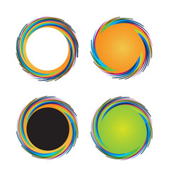 set of colorful circular waves vector image