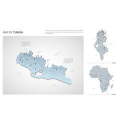 Set tunisia country isometric 3d map tunisia vector