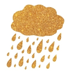 Shining golden glitter cloud with rain drops vector image