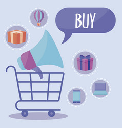 shopping cart with megaphone and commercial icons vector image