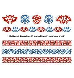 Siberian folk ornaments set vector