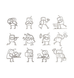 sketch robot set alien character with business vector image