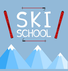Ski school education training mentoring logo vector