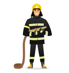 smiling firefighter man from fire brigade vector image