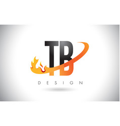Tb t b letter logo with fire flames design vector