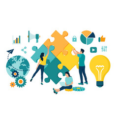 Teamwork concept people connecting puzzle vector