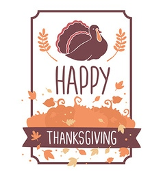 thanksgiving with turkey bird pumpkins and vector image