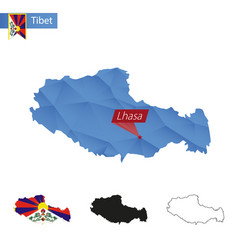 Tibet blue low poly map with capital lhasa vector