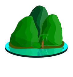 tropical mountain island icon cartoon style vector image